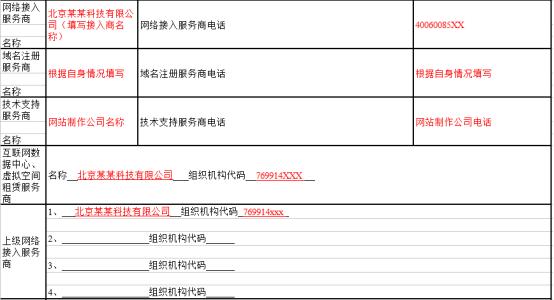 北京市公安局计算机信息网络国际联网单位备案表(填写样例)